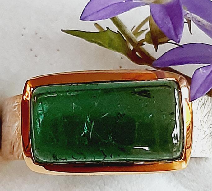 ring-turmalin-traumstein-gruen-14x7 mm-silber-925-sterling-fassung vergoldet