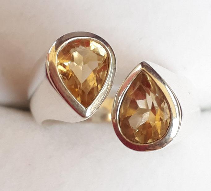 ring-sterling-silber-925- 2 citrine-offene ringschiene-8x6mm