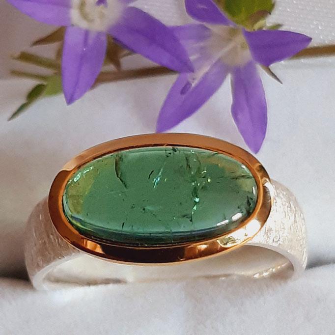 ring-turmalin-gruen-13x7 mm-silber-925-sterling-fassung vergoldet