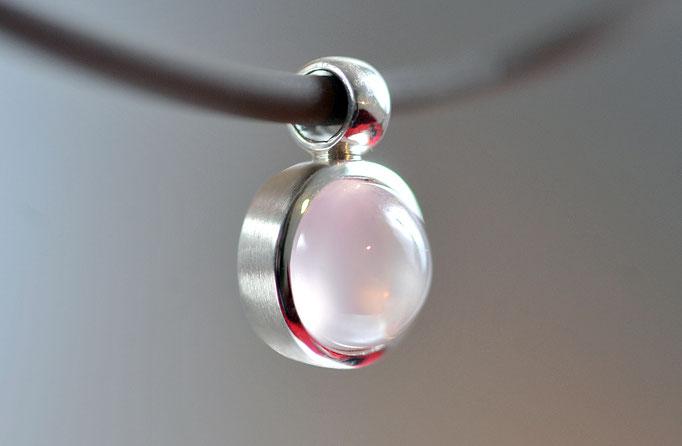 anhaenger-mondstein-sterling-silber-925-verschiedene groessen und steine-rosenquarz-granat-rauchquarz
