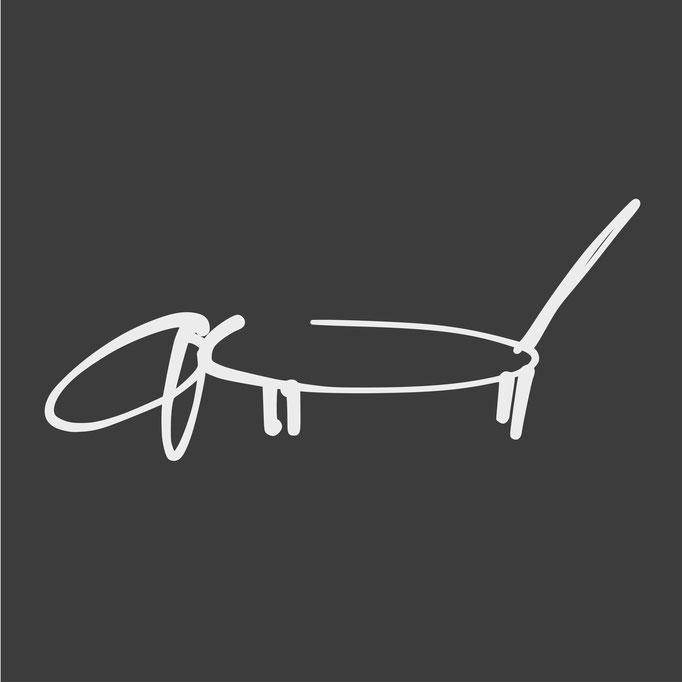 Dackel Strichzeichnung wie Picasso weiss