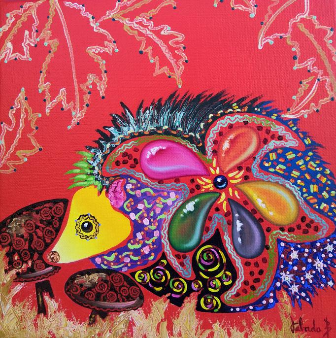 Hérisson en couleurs, 20x20cm, n°81, disponible
