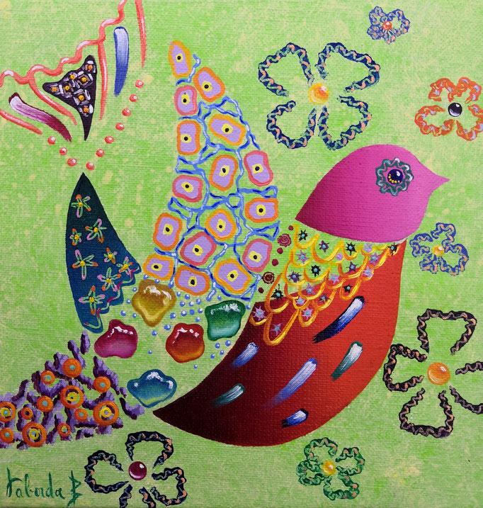 Oiseau vert, 20x20cm, n°57, disponible