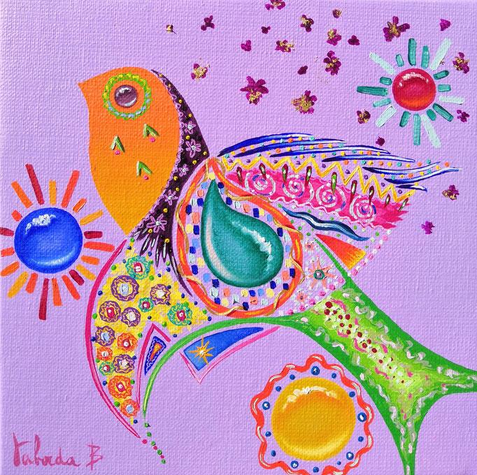 Oiseau violet, 20x20cm, n°51, disponible