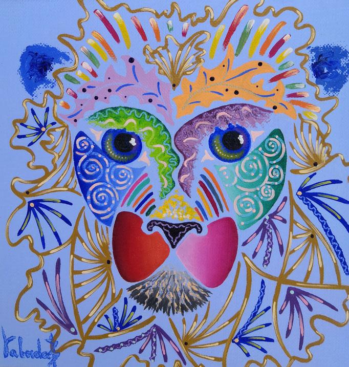 Lion lavande, 20x20cm, n°75, disponible