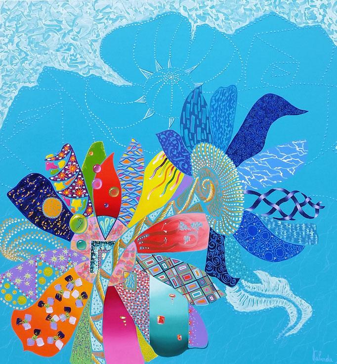 Printemps turquoise, 100x100cm, disponible