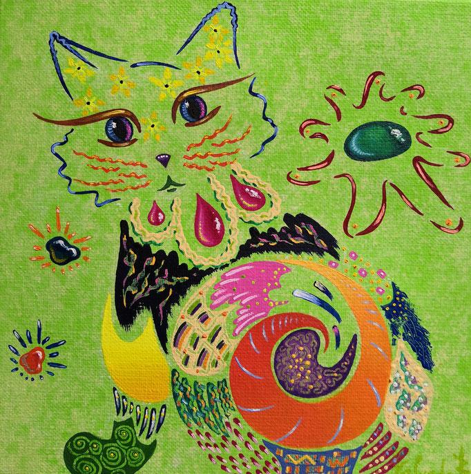 Chat vert, 20x20cm, n°68,vendu