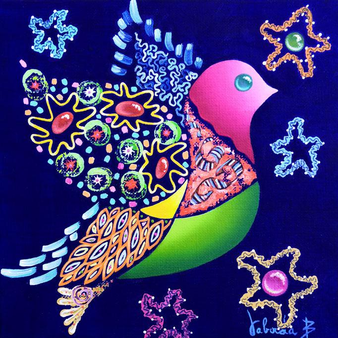 Oiseau dentelle, 20x20cm, n°67, disponible