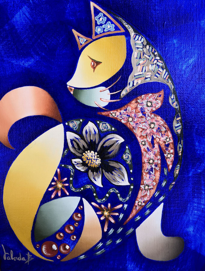 Chat chic, 27x22cm, n°79, disponible