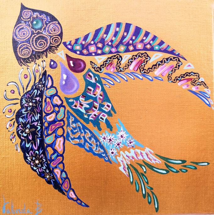 Oiseau or rouge, 20x20, n°106, disponible