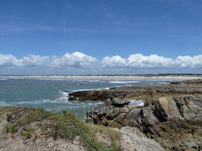 Blick vom Torche in die Weite des 10 km langen Strandes