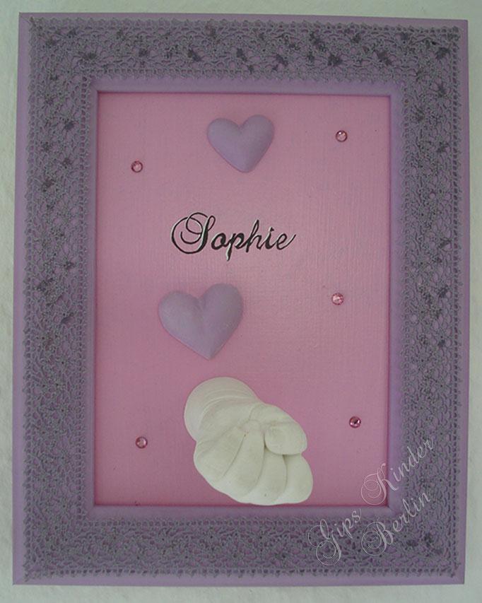 Bilderrahmen rosa/lila mit Handabdruck Baby mit Namen und echten Swarovski Perlen
