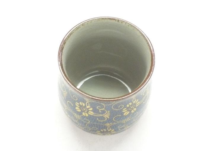 九谷焼通販 おしゃれなお湯呑 湯飲み ゆのみ茶碗 大 手打ち青粒 上からの図