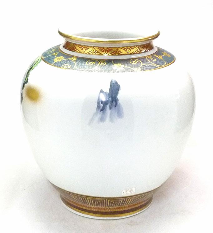 九谷焼通販 おしゃれな花瓶 花器 本金山水 青粒 10号 背中の図