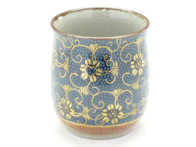 九谷焼通販 おしゃれなお湯呑 湯飲み ゆのみ茶碗 大 手打ち青粒 正面の図