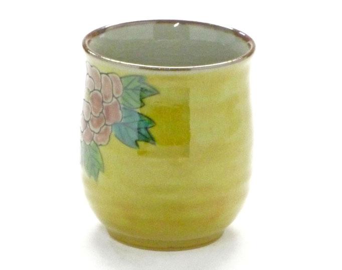 九谷焼通販 おしゃれなお湯呑 湯飲み ゆのみ茶碗 大 吉田屋(濃い塗り)牡丹 裏絵 背中の図