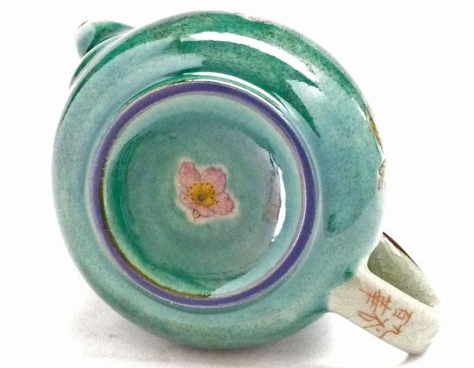 九谷焼通販 急須 茶器 ポット 大 ソメイヨシノ緑塗り 裏絵 裏の図