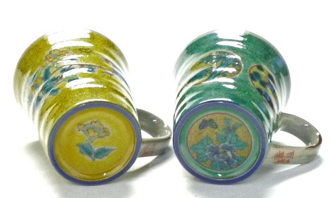 九谷焼【ペアマグカップ】黄塗り金糸梅に鳥&丸紋松竹梅緑塗り 裏絵
