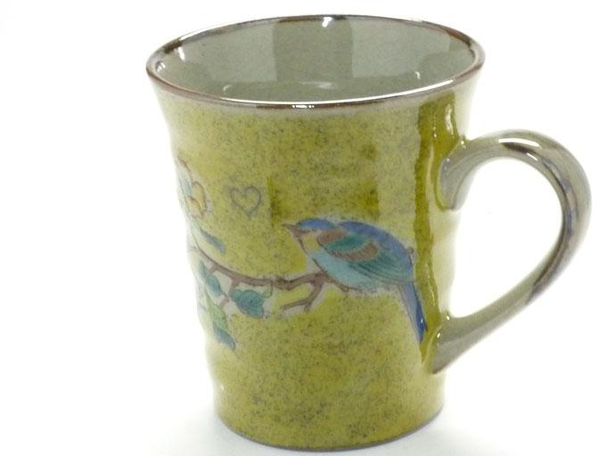 九谷焼『マグカップ』黄塗り金糸梅に鳥『裏絵』