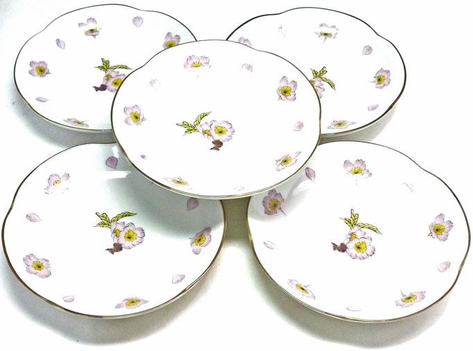 九谷焼通販 おしゃれな皿揃え 小皿 桜 ソメイヨシノ 4寸梅型 裏絵