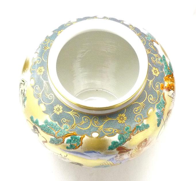 九谷焼通販 おしゃれな花瓶 花器 本金七福神青粒 10号 上からの図