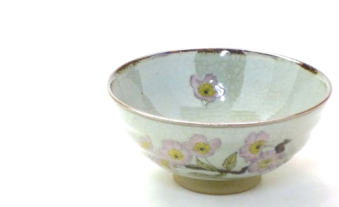 九谷焼通販 おしゃれ ギフト 飯碗 茶わん ご飯茶碗 小 桜 ソメイヨシノ 中絵 拡大の図
