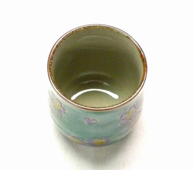 九谷焼通販 お湯呑 お湯飲み ゆのみ茶碗 おしゃれ ギフト グリーン地 桜 裏絵