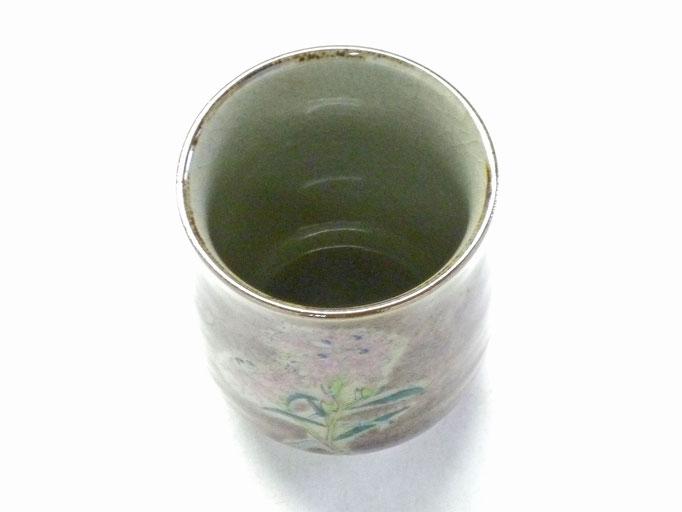 九谷焼『お湯呑』大 なでしこ紫塗り『裏絵』