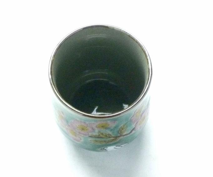 九谷焼【お湯呑】小 白兎ソメイヨシノ緑塗り【裏絵】