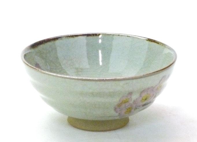 九谷焼通販 おしゃれ ギフト 飯碗 茶わん ご飯茶碗 小 桜 ソメイヨシノ 中絵 横からの図
