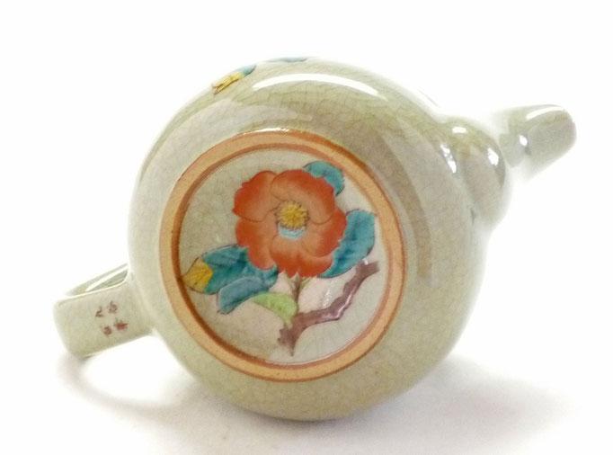 九谷焼おしゃれな急須 茶器 椿に鳥 裏絵