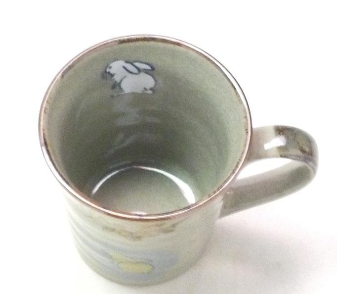 九谷焼 マグカップ マグ 白兎 しだれ桜 中裏絵 中の図