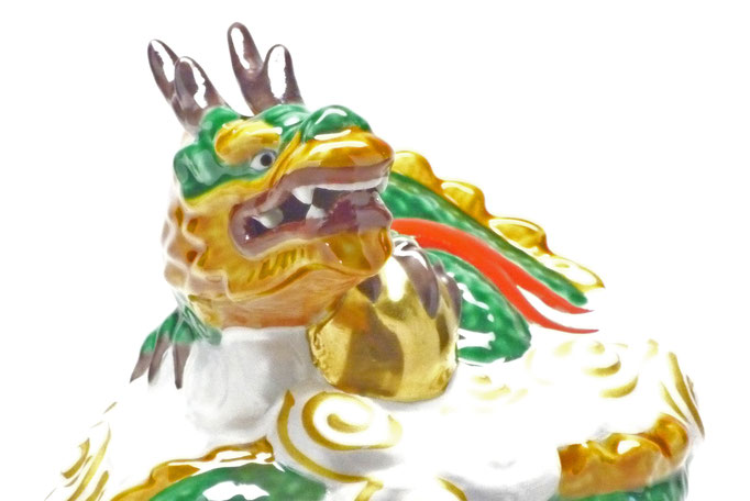 九谷焼 干支 置物 インテリア 玉龍 青九谷 5,5号