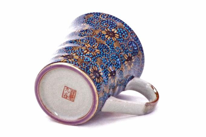 九谷焼通販 おしゃれ マグカップ マグ 手打ち青粒 下塗り ハート