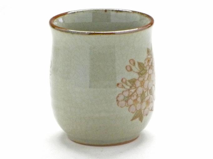九谷焼【お湯呑】大 しだれ桜【裏絵】