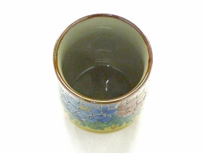 九谷焼通販 おしゃれなお湯呑 湯飲み ゆのみ茶碗 大 吉田屋(濃い塗り)牡丹 裏絵 上からの図