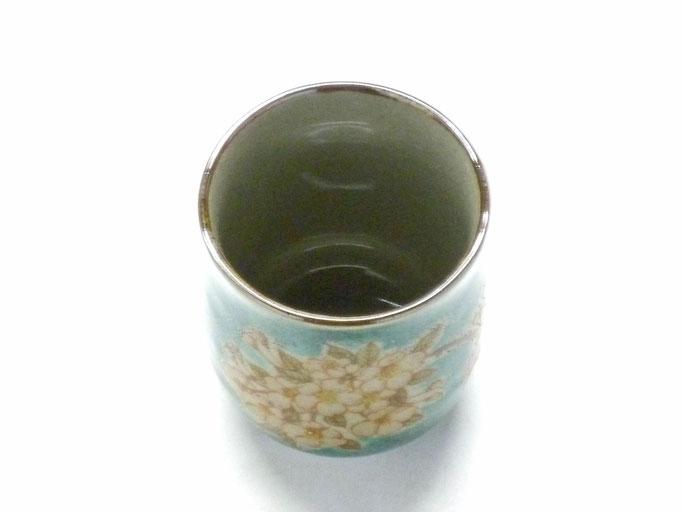 九谷焼 お湯呑 小 しだれ桜緑塗り 裏絵