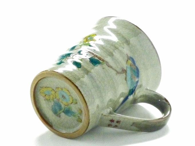 九谷焼『マグカップ』金糸梅に鳥『裏絵』