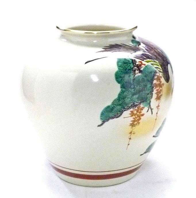 九谷焼通販 おしゃれな花瓶 花器 松鷹 横からの図