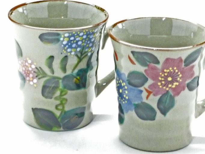 九谷焼 【ペアマグカップ】 和桜&がく紫陽花ピンク+ブルー 裏絵