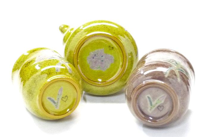 九谷焼【茶器・急須・ティーポット3点セット】小 なでしこ黄塗り『裏絵』