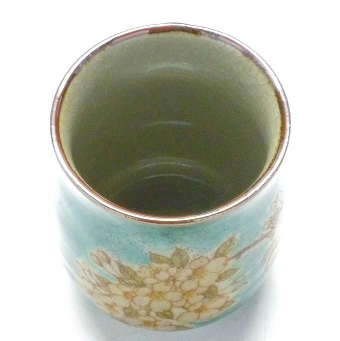 九谷焼【お湯呑】大 しだれ桜 緑塗り『裏絵』