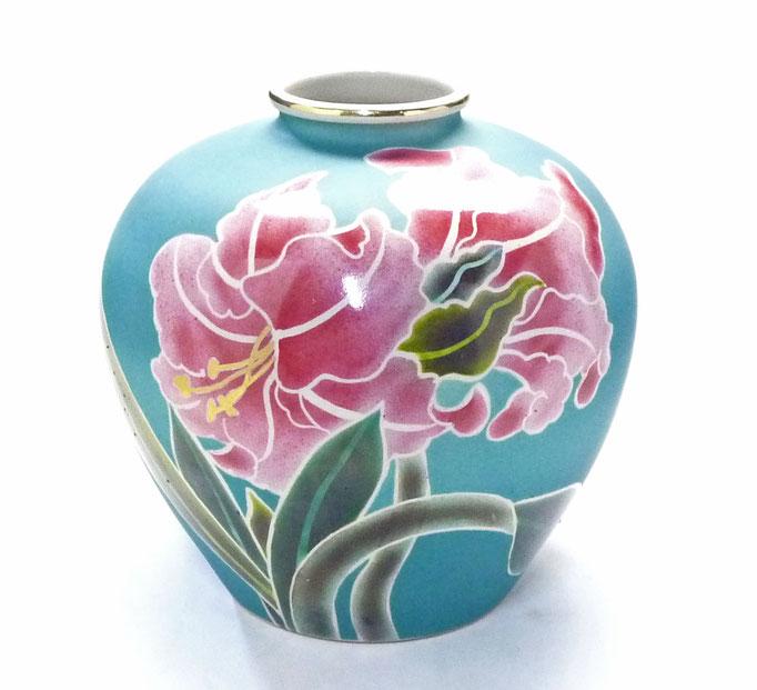 九谷焼通販 おしゃれな花瓶 花器 ピンク カトレア 正面の図