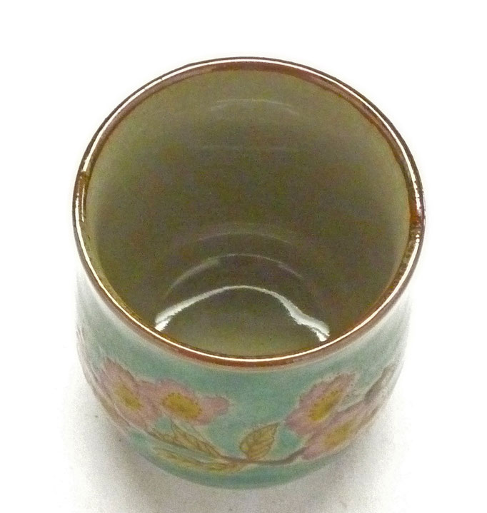 九谷焼 お湯呑 小 ソメイヨシノ緑塗り 裏絵