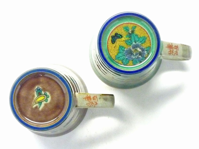 九谷焼【ペアマグカップ】宝尽くし紫塗り&丸紋松竹梅緑塗り 裏絵