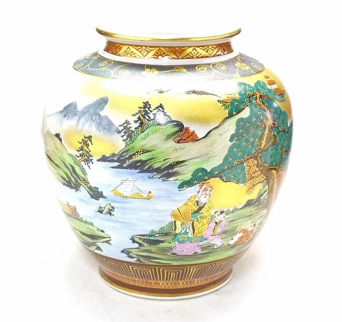 九谷焼通販 おしゃれな花瓶 花器 本金山水 青粒 10号 正面の図