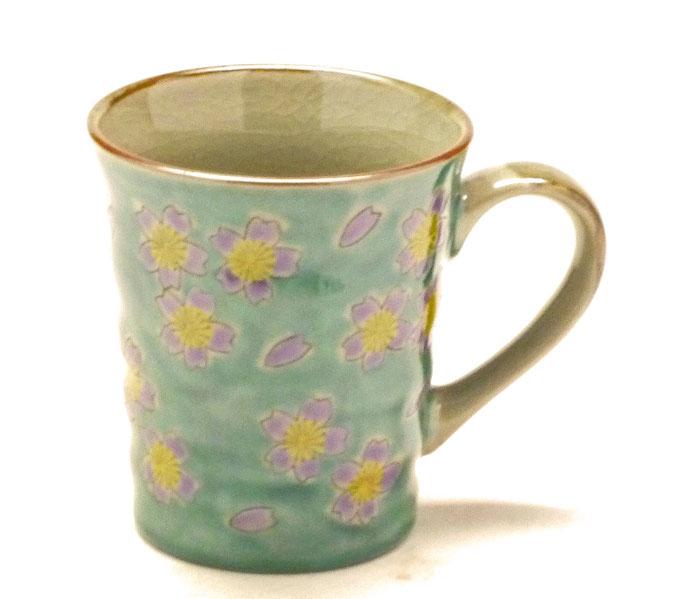 九谷焼通販 おしゃれなマグカップ マグ グリーン地桜 裏絵 正面の図
