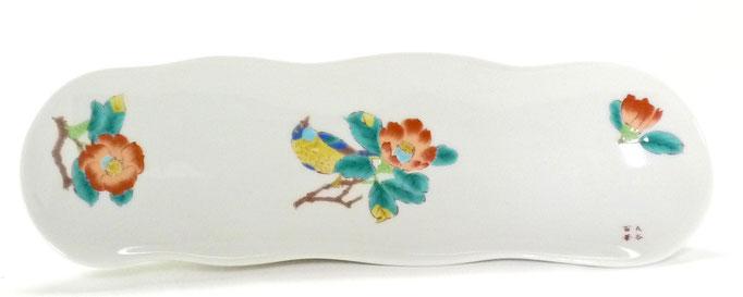 九谷焼【そら豆長皿】(磁器)椿に鳥【裏絵】
