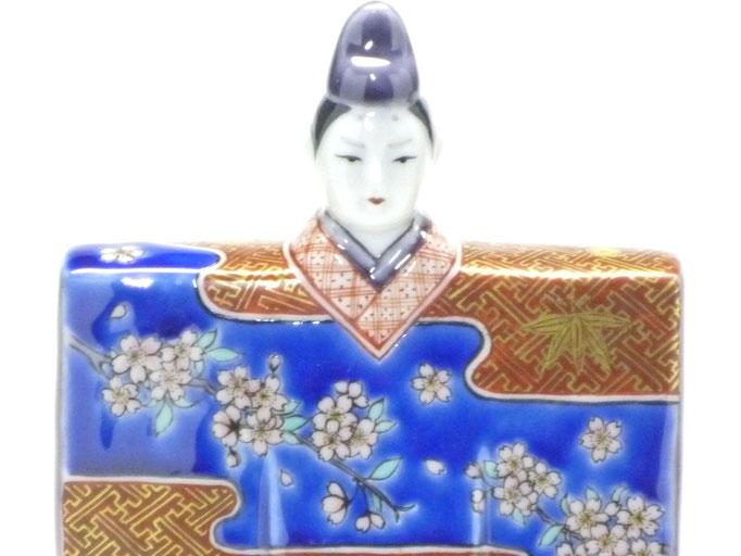 九谷焼『お雛様』金彩 吉田屋 赤絵 立雛 5.5号 裏書 木箱台付