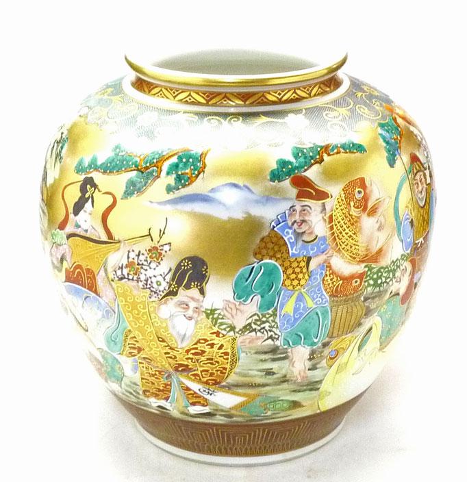 九谷焼通販 おしゃれな花瓶 花器 本金七福神青粒 10号 正面の図